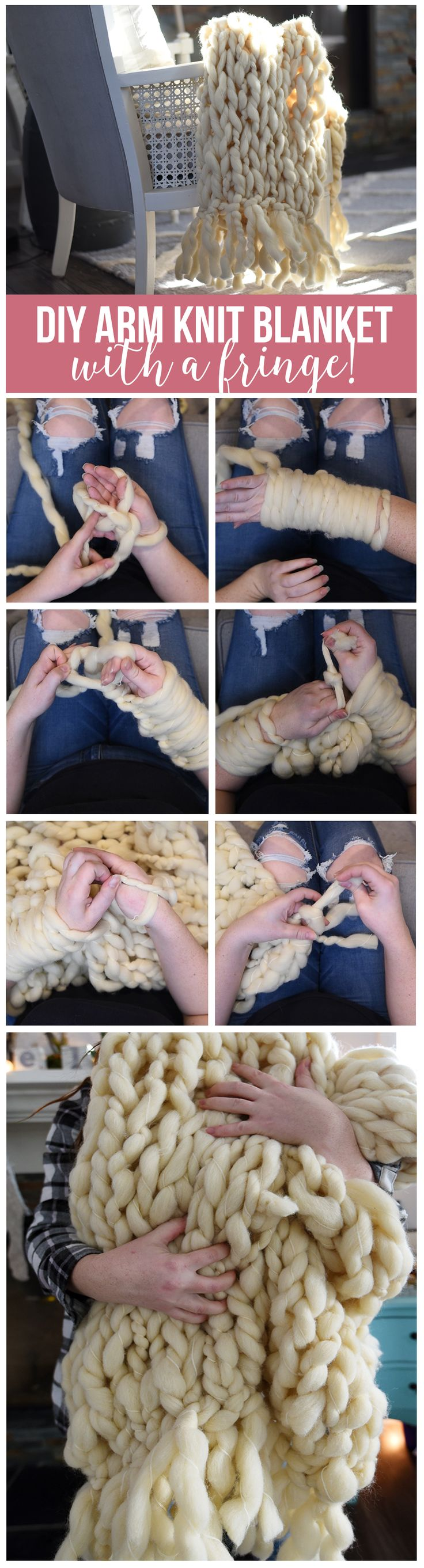 How to make an arm knit blanket with a fringe