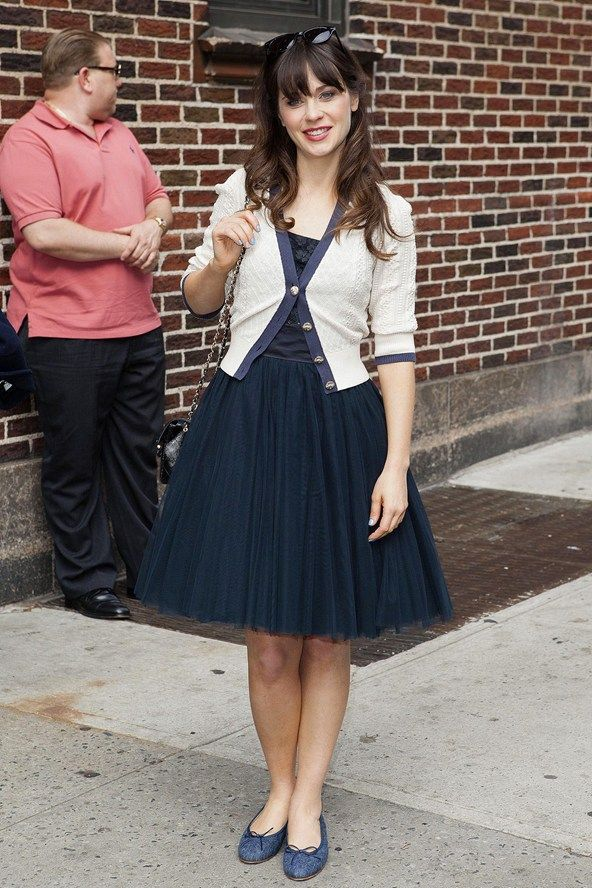 navy tulle dress and cardigan