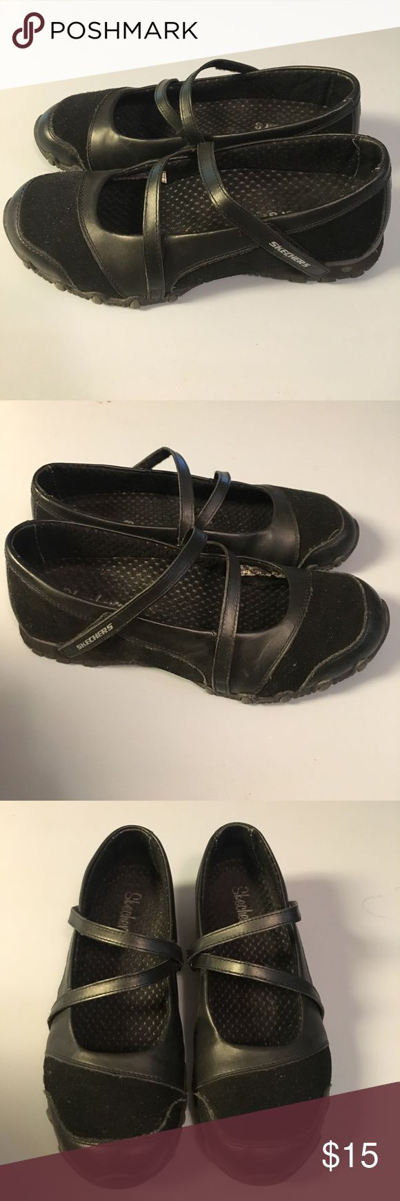 """Skechers Bikers step up leather shoes Skechers leather and suede Bikers Step Up shoes feature adjustable Velcro ankle straps and rubber sole. Slight 1/2"""" heel and supportive insole. EUC. Skechers Shoes"""