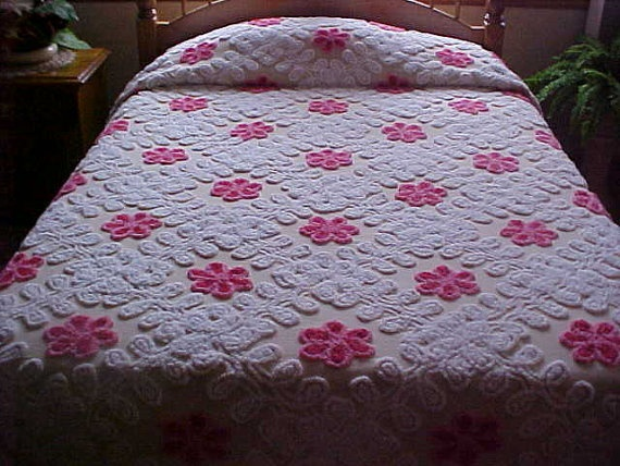 1950's Pink flower and white chenille bedspread on a by designer2, $199.00