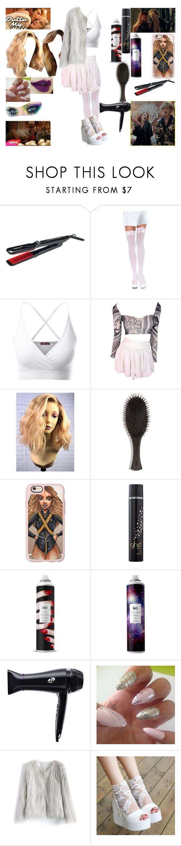 """""""~I just can't get you outta my hair can't get you outta my hair And I know it ain't fair Tryna blow dry it and brush it You just wanna touch it I just can't get you outta my hair~"""" by scarlett-ghost ❤ liked on Polyvore featuring Thairapy365, Leg Avenue, Doublju, Dolce&Gabbana, Oribe, Casetify, GHD, R+Co, T3 and Chicwish"""