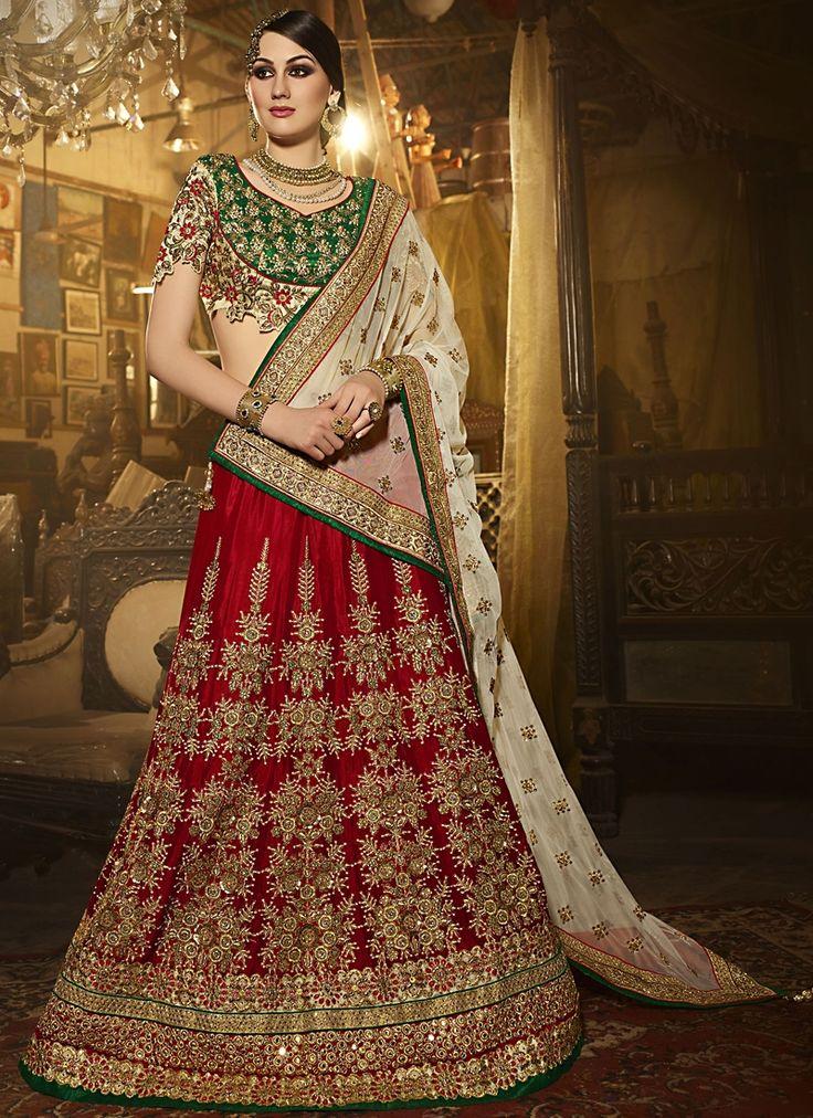 Buy Heavenly Red A Line Lehenga Choli #weddinglehenga #bridallehenga #weddingfashion #occaison #fashion #marriageseason #weddingplanner #fashionable #glamor #glamorous #traditional #traditionalfashion