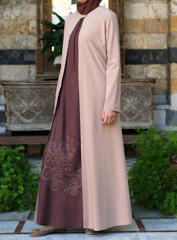 Hijab Fashion 2016/2017: Looking for some intentional layering? Check out this dress and Jacket set by Shukr Islamic Clothing
