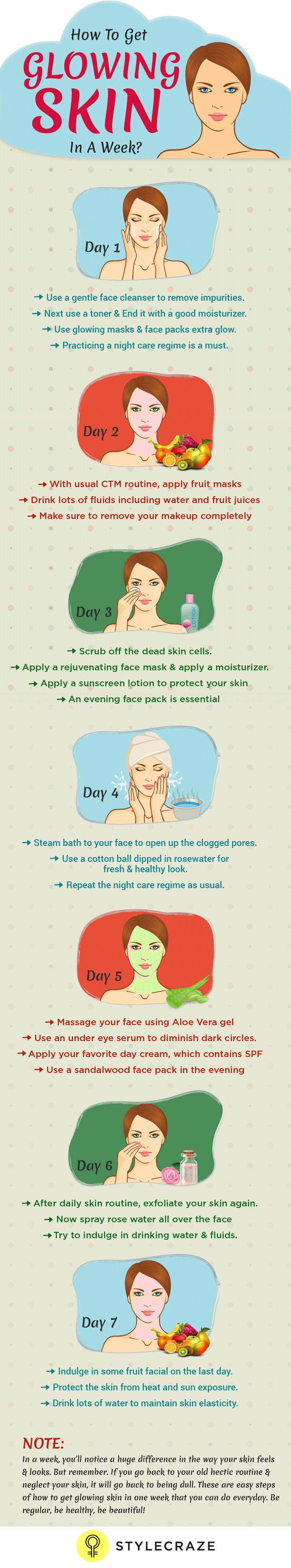 How To Get Glowing Skin In 7 Days - With Day By Day Instructions