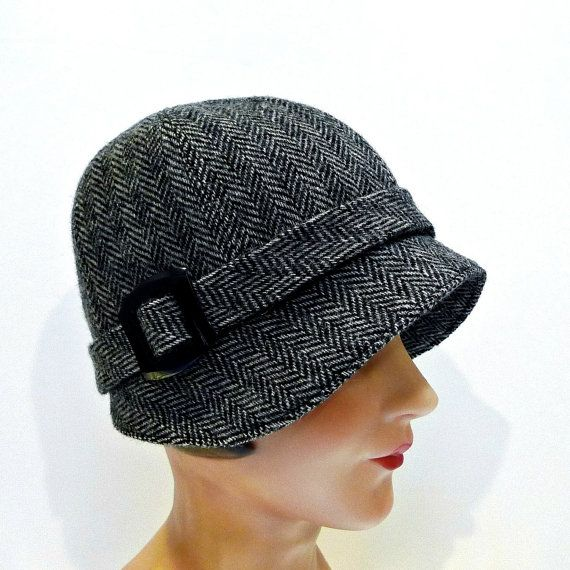 Vintage Womens Hats | Women's Hat - 1920s Cloche Hat in Vintage Herringbone Tweed