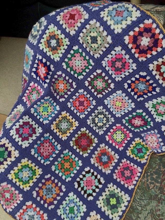 A Granny Square Crochet Stargazer Lap Afghan Blanket £40.00