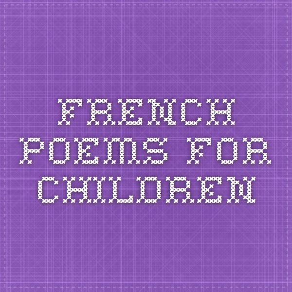 French Poems for Children