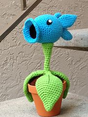 Ravelry: Plants vs. Zombies Snow Peashooter Amigurumi Pattern pattern by Julianne Winter  $6.99