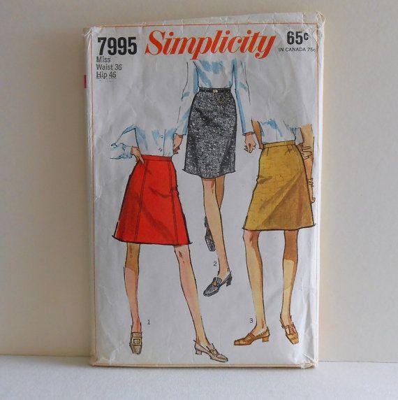 Simplicity 7995 Mini ALine Skirt Size Waist 36 by filecutter, $3.25