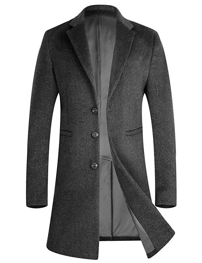 9ab350a4c298 Men s Vintage Style Coats and Jackets APTRO Mens Wool Coat Long Fashion Slim  Fit Woolen Overcoat