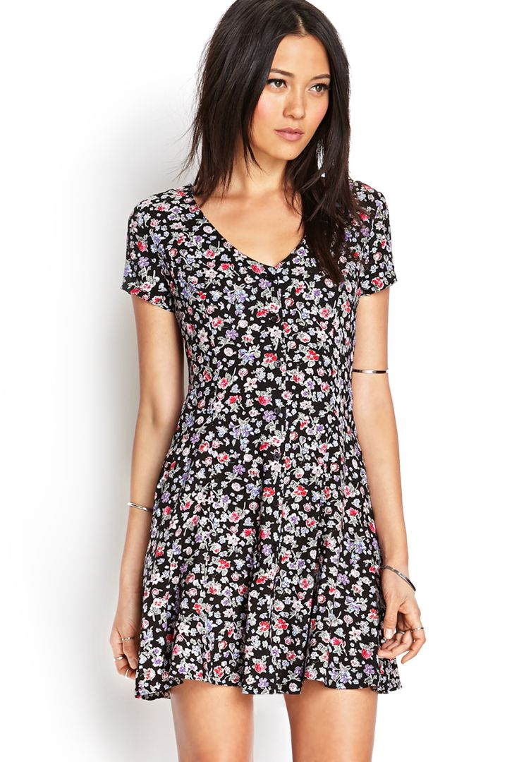 Ditsy Floral Buttoned Dress | FOREVER21 - 2000062223 - http://AmericasMall.com/categories/juniors-teens.html