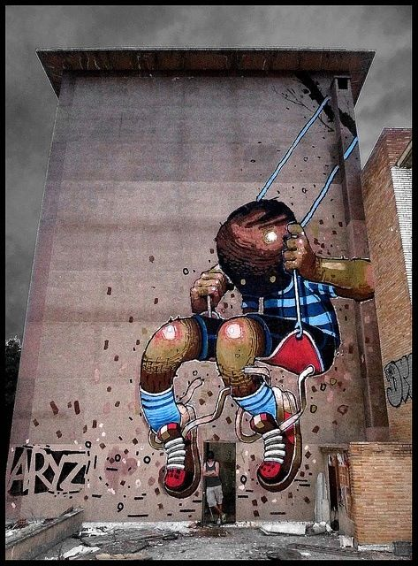 Spanish artist Aryz #aryz #greateststreetart #urbanart #graffitiart #streetartists #urbanartists #murals #wallmural