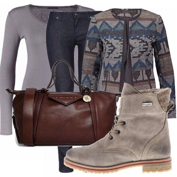 Look perfetto per passare una giornata in uni tra corsi e biblioteca. Jeans, maglioncino, giacca fantasia, anfibi e borsa color cuoio compongono questo semplice look.