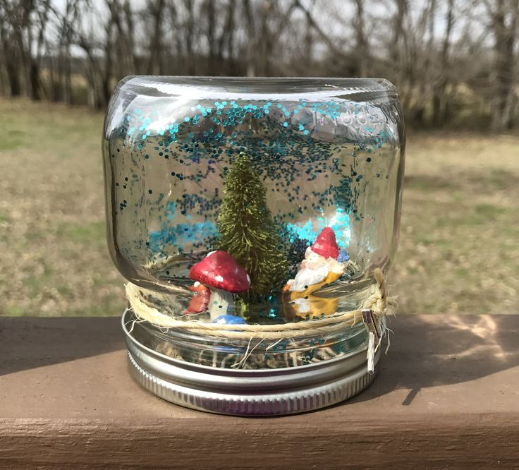 Gnome and Mushroom Bottle Brush Tree Waterless Glitter Snow Globe - Pint Ball Mason jar with Camp Sign Charm - Fairy Dry Globe - Spring Gift by BombPopBoutique on Etsy