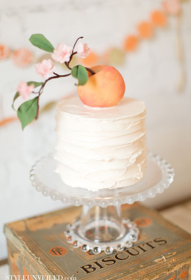 Tiny White Cake Topped with a Peach