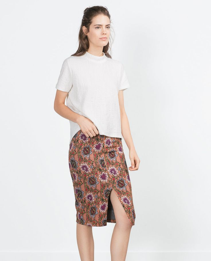 Image 1 of JACQUARD MID-LENGTH SKIRT from Zara