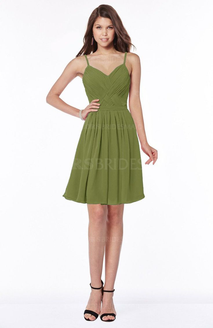 Olive Green Modest A-line Sleeveless Zip up Knee Length Ruching Bridesmaid Dresses