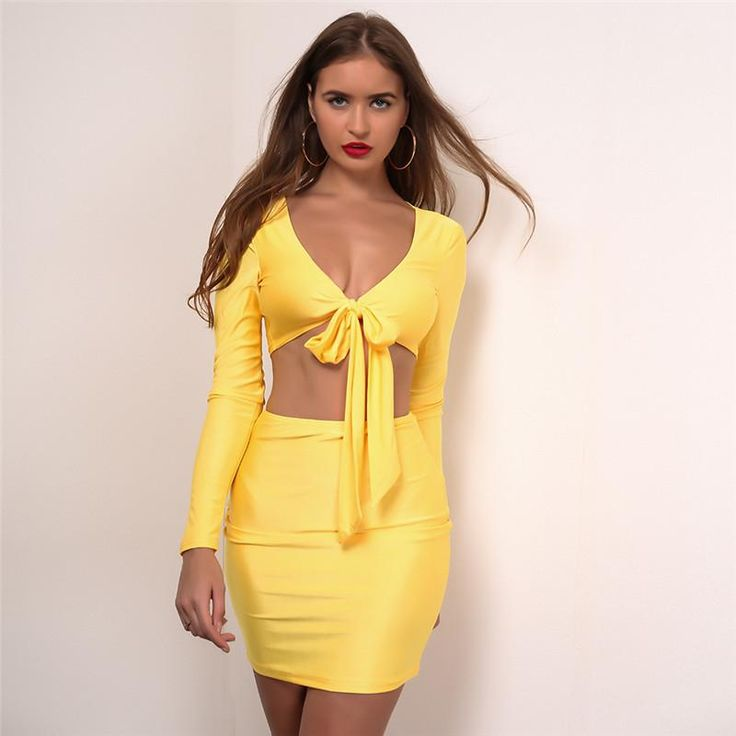 Solid two piece dress outfit, stretchable long sleeve deep v-neck tied up  crop