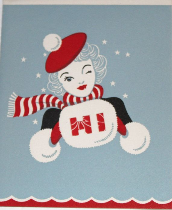 Vintage Christmas card - Winking Miss - 1940s 1950s 1960s - Sidney J. Burgoyne