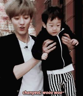 Chanyeol and Seojun   Return of Superman you would expect chanyeol to act a little more manly with kids nope he acts more like a kid than the kid xD