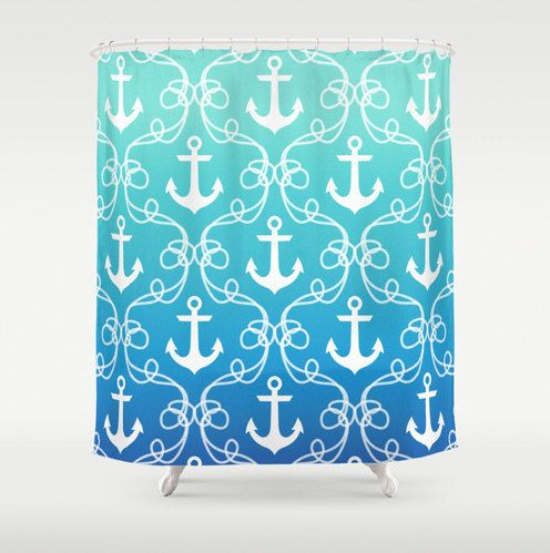 Nautical shower curtain anchors in blue ombre beach by RoveStudio, $65.00