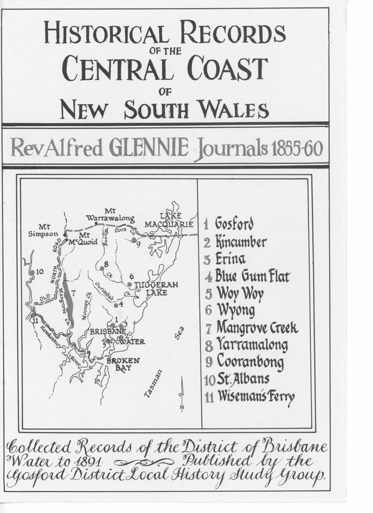 """""""Historical Records of the Central Coast of New South Wales: Rev Alfred Glennie Journals 1855-60"""" by the Gosford District Local History Study Group. Published 1987 by Gosford District Local History Study Group, Narara. Alfred Glennie was the Rector of Gosford in the years 1850-1865 and this book is a collection of his transcribed diaries, which helps to shed light on what the area was like and who was residing in Gosford at this particular point in history."""