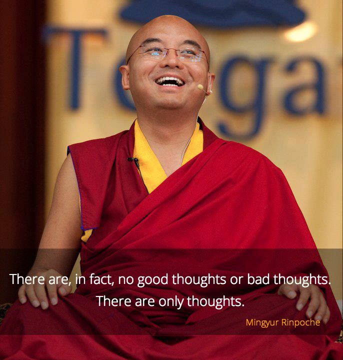 """Only thoughts ~ Mingyur Rinpoche http://justdharma.com/s/sktby  There are, in fact, no good thoughts or bad thoughts. There are only thoughts.  – Mingyur Rinpoche  from the book """"The Joy of Living: Unlocking the Secret and Science of Happiness"""" ISBN: 978-0307347312…"""