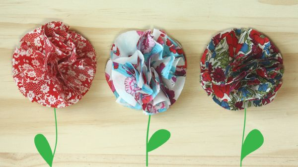fabric flowers for barrettes, headbands, t-shirt accessories