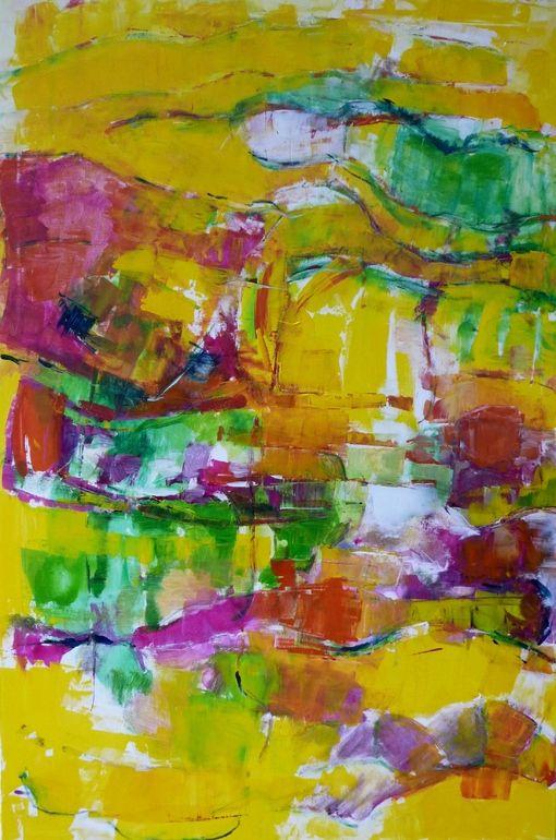 "Saatchi Online Artist: Hans Jorgen Henriksen; Acrylic, 2012, Painting ""Downtown yellow tiger"" #artHans Jorgen, Yellow Tigers, Artists Hans, Downtown Yellow, Abstract Art, Saatchi Online, Online Artists, Art Artists, Jorgen Henriksen"