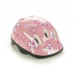 Kask na rower, rolki, hulajnogę przeznaczony dla dzieci w kolorze różowym.