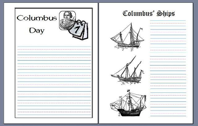 Columbus Day notebooking pages