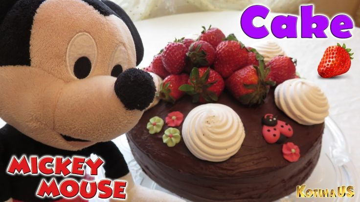 Mickey Mouse and Chocolate Cake with marshmallow and strawberry Disney M...