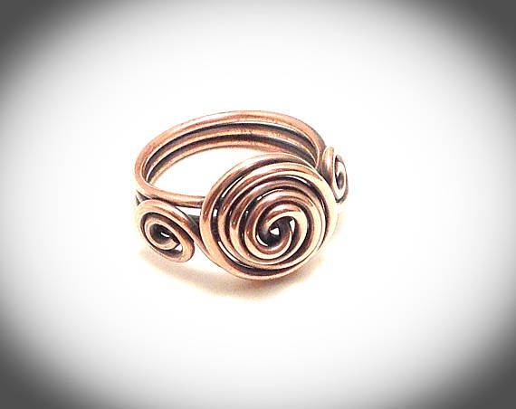 Crescent wire wrapped ring with triple band. Handcrafted and created using 16 gauge copper wire. Available in sizes 5 - 9 with choice of antiqued or non tarnish finish.