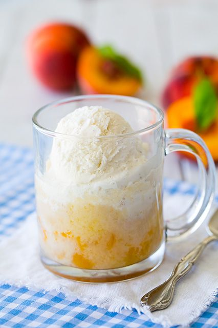 Sweet peaches combine with cake for a fluffy and fruity dessert.