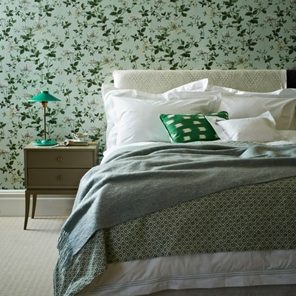 Schlafzimmer Tapeten Gr?n : tapeten nat?rlich muster blumen gr?n tischlampe schlafzimmer