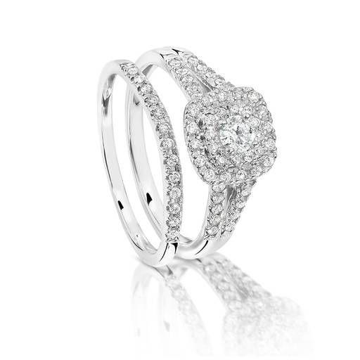 14ct White Gold Diamond Engagement Ring and Wedding Band Set!