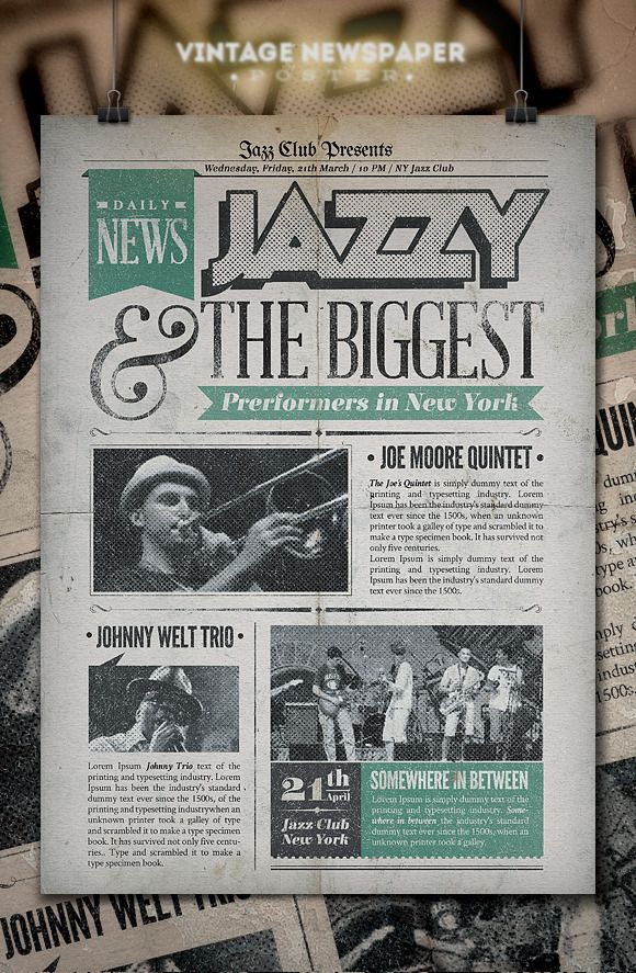 Jazz | Vintage Newspaper Poster by PuneDesign on Creative Market