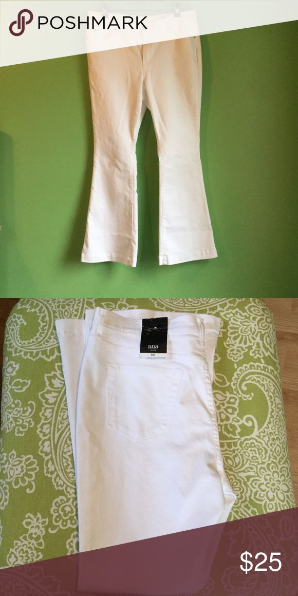 NWT Women's White Flare Leg Jeans ***NEW W/TAGS***  Ana Flare Leg White Denim Pants.  Mid Rise   Flare Leg  Size 14petite or 32 Waist a.n.a Jeans Flare & Wide Leg