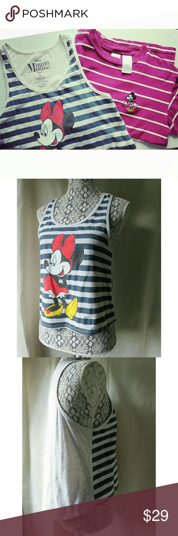 Disney Minnie Mouse Tops Bundle Tank/ T-shirt Sm Top A is a racer back tank top, size Ladies Small, navy & gray stripe pattern on front with Minnie Mouse. Back has rounded/ longer shirt tail. Cotton blend, so soft! Top B is a t-shirt in fuchsia purple & white stripe pattern. Some pilling. No stains on either. Both authentic Disney brand! (1st photo filtered.) Sold as bundle set of 2. Thanks so much --Jen  #726 Disney Tops