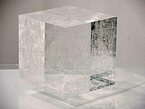 Marco Maggi, Drop (detail), 2009 - cuts on plexiglas cubes, plexi sheet, wooden shelf - 7 x 9 x 11.5 inches