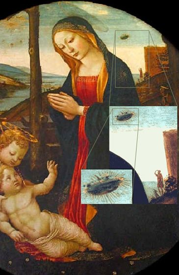 "The Madonna with Saint Giovannino and a UFO: This painting is called ""The Madonna with Saint Giovannino"". It was painted in the 15th century by Domenico Ghirlandaio (1449-1494) and hangs as part of the Loeser collection in the Palazzo Vecchio. Above Mary's right shoulder is a disk shaped object. Below is a blow up of this section and a man and his dog can clearly be seen looking up at the object. #ufo:"