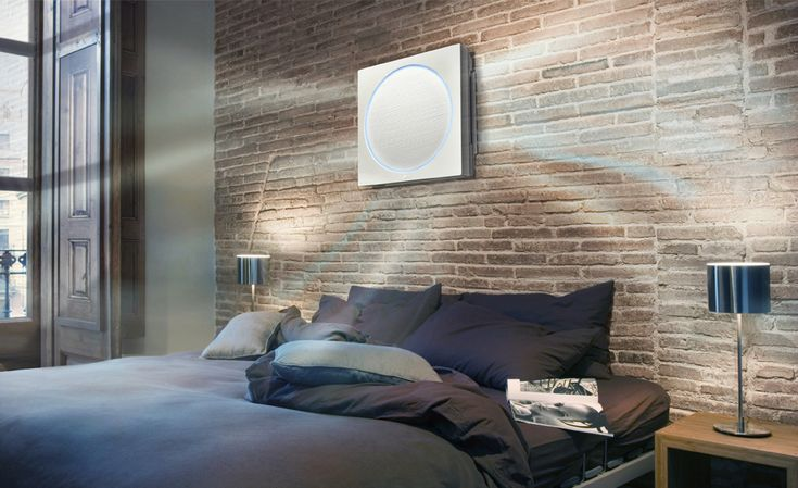 LG Just Made The Best-Looking Air Conditioner Ever. The slim unit is mounted on a wall and requires no plumbing lines (this is accomplished by either science or magic). The air conditioner also features LED lighting that changes to inform you whether it's cooling or heating and can be adjusted to suit your mood. The unit operates extremely quietly and dispenses air in three different directions for a more natural feel than a straight blast of air.