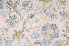 1.7 Yards Kaufmann Mandarin Garden Printed Linen Blend Drapery Fabric in Tropical Blue