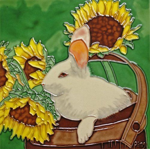 Continental Art Center BD-0428 8 by 8-Inch Rabbit with Sunflower Ceramic Art Tile by Continental Art Center. $24.82. Exclusive designs from well known artists with signature of the artist on each tile. Pre-attached backings can be removed by soaking in water for installation as backsplash or a center piece both indoor and outdoor. 100-Percent hand made 3-D textures are created by hand pipping process; One of a kind Come with a recyclable gift box. Hand Painted...