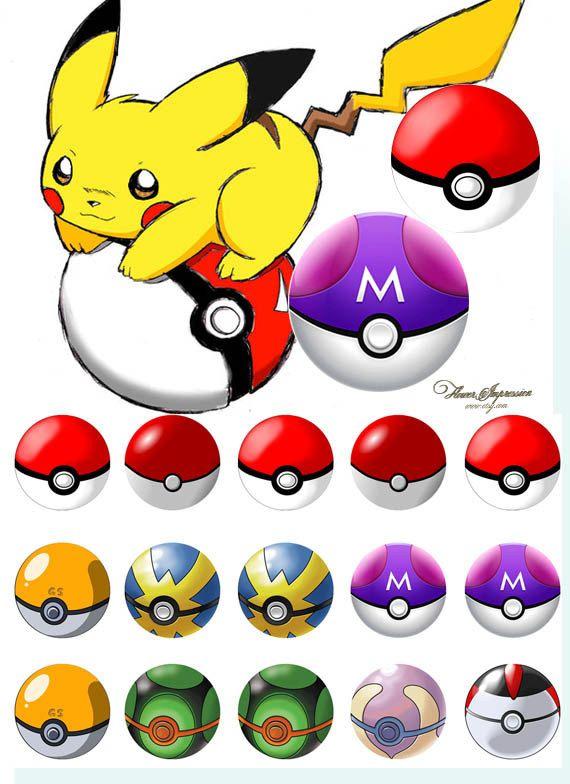 Pokemon ball -  Bottle Cap Images 4x6 Digital Collage INSTANT DOWNLOAD (1.49…
