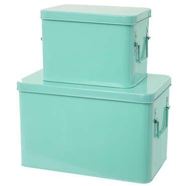 Lot de 2 boîtes de rangement Coloris vert menthe - pas cher ? C'est sur Conforama.fr - large choix, prix discount et des offres exclusives Boîte de rangement sur Conforama.fr