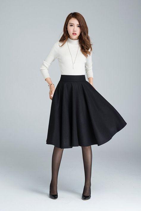 b4f303edc155 Wool circle skirt, black skirt, winter skirt, skater skirt, knee ...