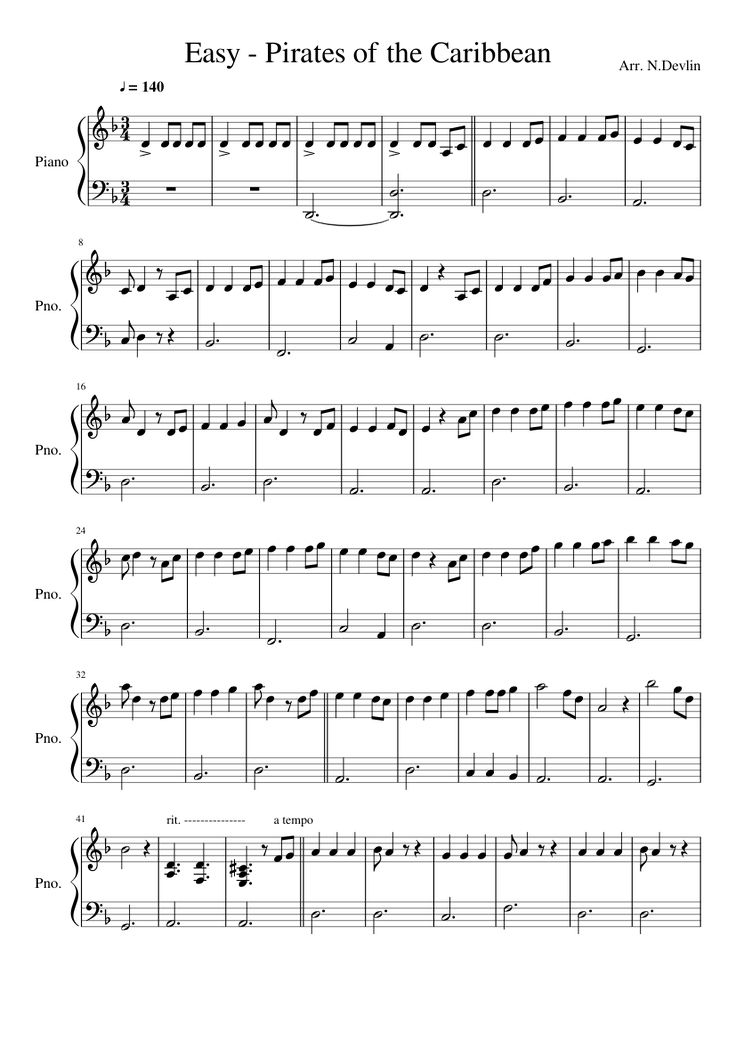 Sheet music made by Niall Devlin for 2 parts: Piano
