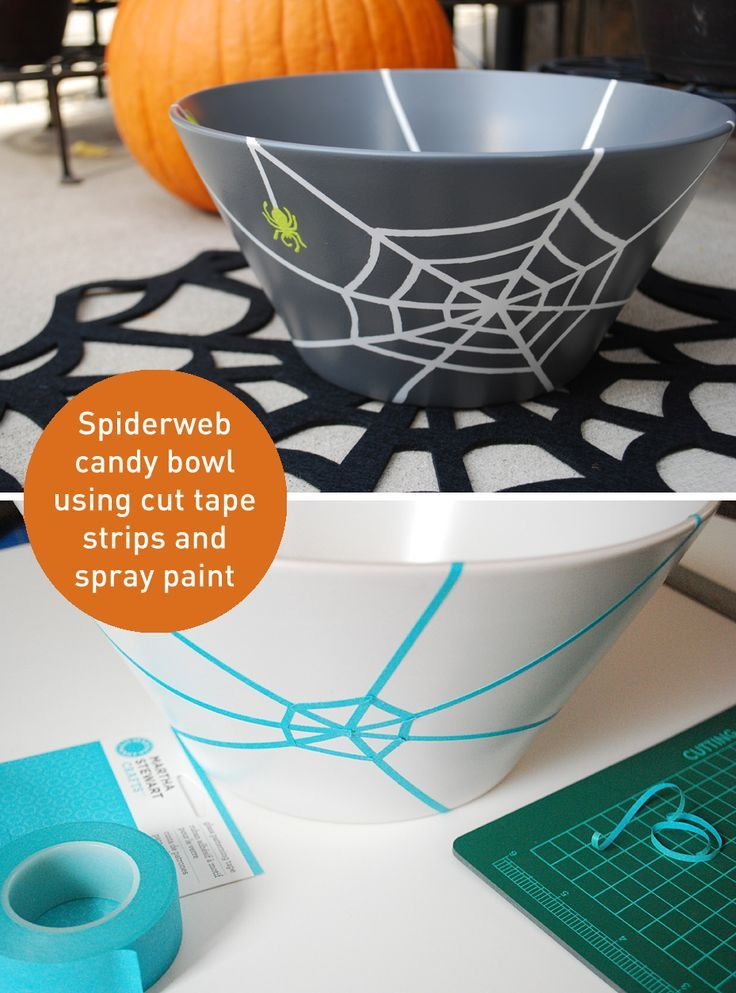 Make spiderwebs on a Halloween candy bowl w tape strips & spider stencils #halloween #craft #candy #CheckOutMyCraftMartha