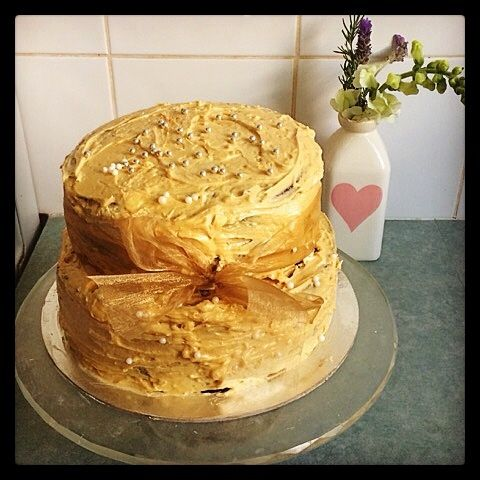 #whatsbardybeenbaking chocolate cake of five layers filled with peanut buttercream